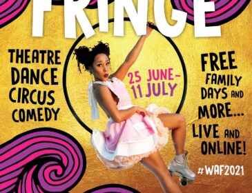 Image shows a young woman on a circus hoop. Text reads Wandsworth Arts Fringe. Theatre, dance, comedy, circus, Free family days and more... Live and online! #WAF 2021. wandsworthartsfringe.com. Wandsworth council logo.