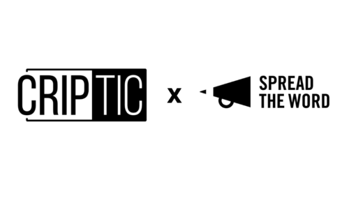 black and white images of CRIPtic and Spread the Word logos, second image: a composite image of the twelve writers who will appear at the Salons