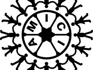 Amici logo. Black paperchain people formed into a circle. Within that a black circle outline with a black star within it and Amici in black capitals.