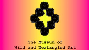 The Museum of Wild and Newfangled Art logo, a black diamond shape made of square blocks on a pink and yellow graded background