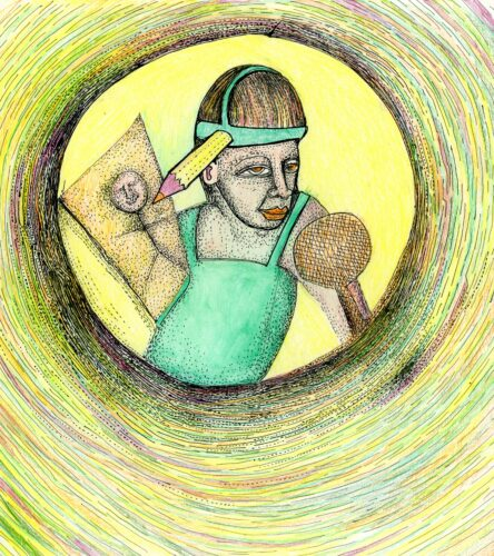 Illustration of a man drawing a picture using a pencil that is strapped to his head.