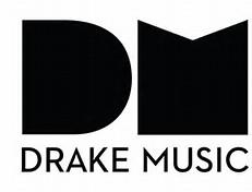 Drake Music below large block DM in black.