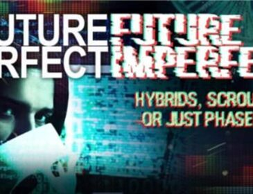 Digital Montage showing DNA, computer code and a partly obscured face. Text reads Future perfect Future Imperfect.Hybrids, scroungers or just phased out?