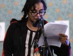 Nila reading at Bent Bars Project's 10 Year anniversary, Studio Voltaire, London, March 2019.