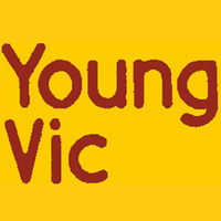 """Young Vic logo, dark red text reads """"Young Vic"""" on a bright yellow background"""