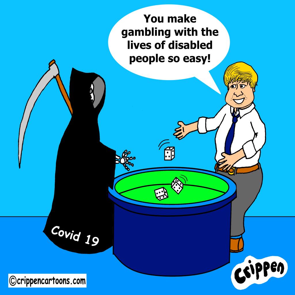 cartoon of Boris playing dice with grim reaper