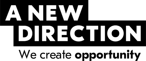 A New Direction Company Logo. 'A New Direction' in white on a black background. 'We create opportunity' in black on a white background.