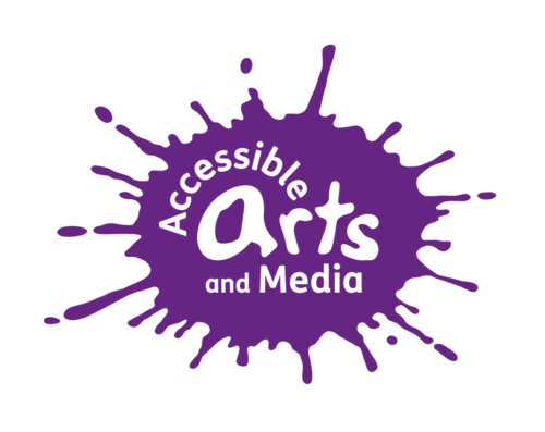 Accessible arts and Media in white text on a purple paint splash.