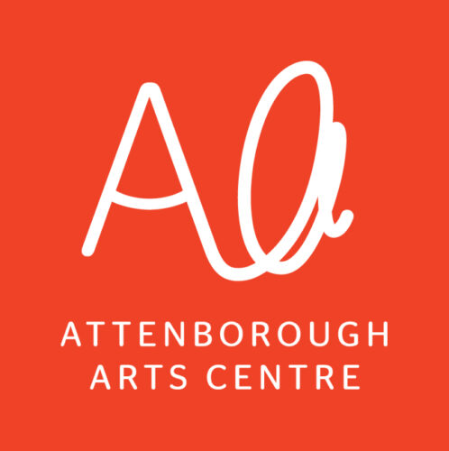 A capital a, and a lower case a in joined white handwriting. Below white text reads: Attenborough Arts Centre. All on a red background.