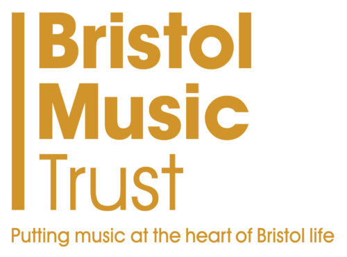 Bristol Music Trust Logo. Bristol music trust, Putting music at the heart of Bristol life in brown on a white background.