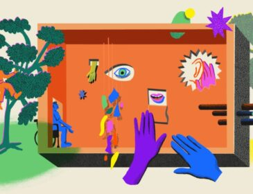 An illustration of an orange open box house with a wheelchair user going in through a door, on a pale yellow background. There is a large green tree outside and some floating hands