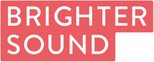 The Brighter Sound logo. A red box contains the words Brighter Sound in white capital letters, and are in a red box
