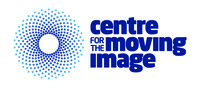 A circle of blue dots on white background resembling a spotlight. Centre for the Moving Image in blue bold text on white background.