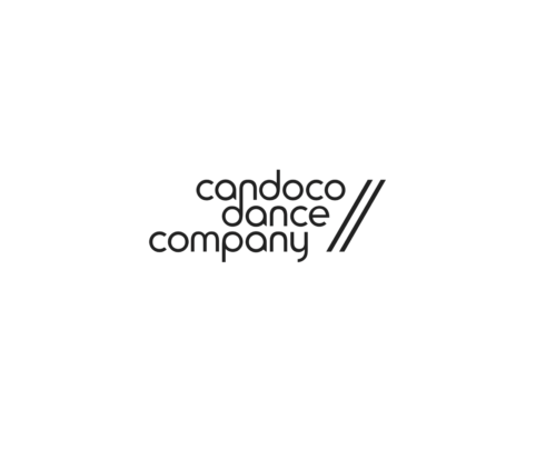 Black font reads Candoco Dance Company on white background, with two diagonal lines framing the logo to the right.