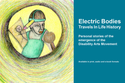 Illustration showing a man with a pencil attached to his head doing a drawing. It's part of a banner advertising the Electric Bodies book which is available in print, ebook and audiobook formats