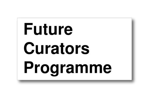 Left aligned in black text on a white background are the words: Future Curators Programme. Each word is placed above the next.