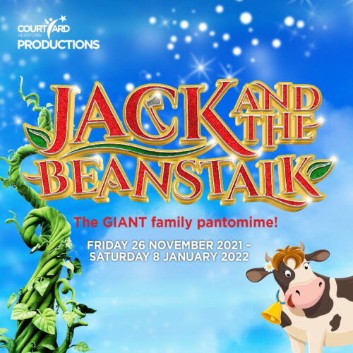 Jack and the Beanstalk in red and gold text on a blue background. There is a green beanstalk on the right and a black on white cow on the left.
