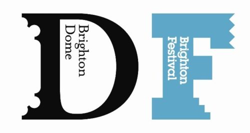 Brighton Dome & Brighton Festival logos. A large black capital D with Brighton Dome in black text within its counter. This is next to a large blue capital F with Brighton festival it white text within it.