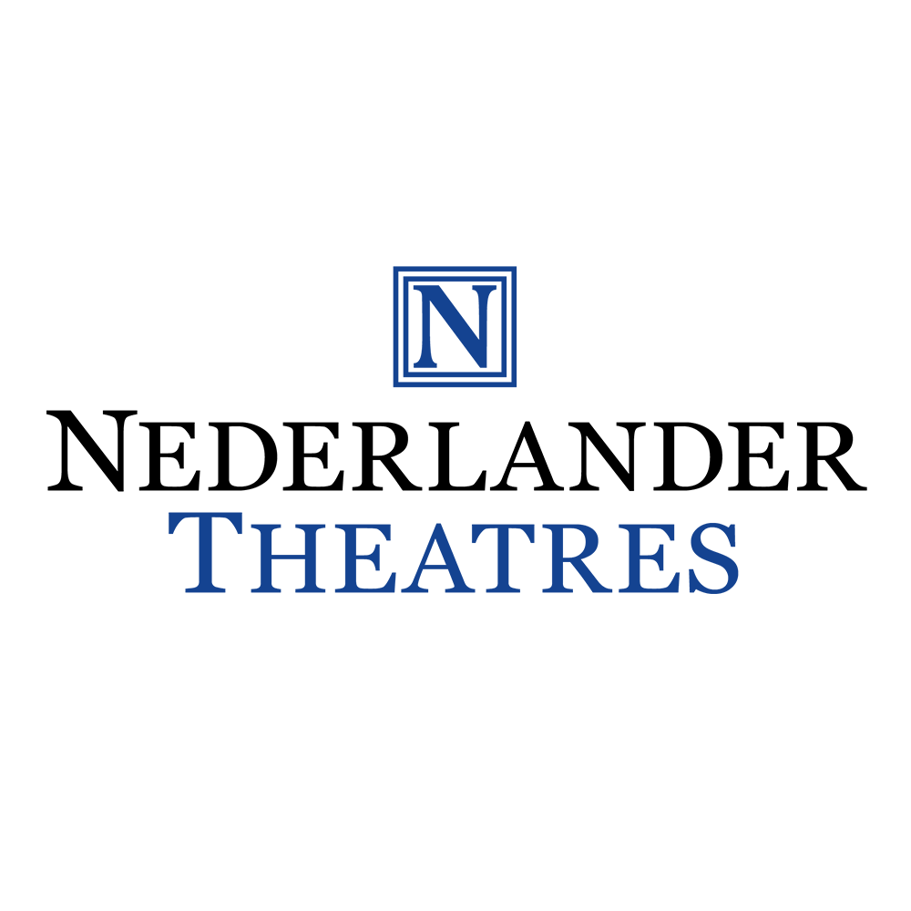 A capital N is enclosed by a box, above the words 'Nederlander Theatre' in blue and black.