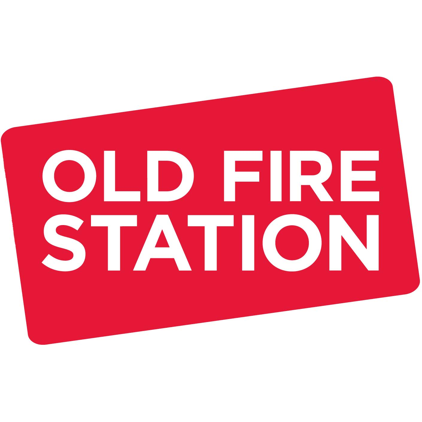Old Fire Station in white capital text on a red rectangular background.