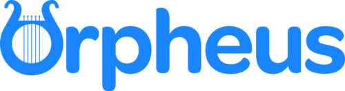 Orpheus in blue text. The O is modelled on a stringed instrument.