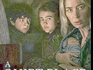 A poster for A Quiet Place II with images of a white woman holding a baby with two young children beside her
