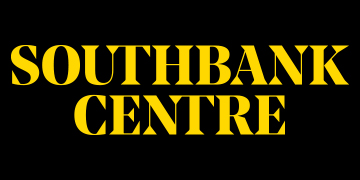 Southbank Centre in yellow capital text on a black background.