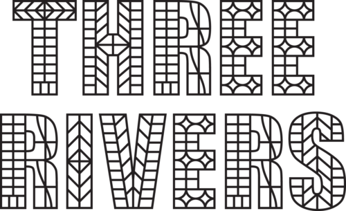 Three Rivers written in capitals in a mock tudor typeface