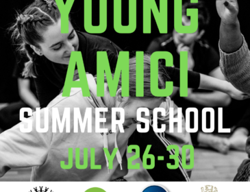 A black and white image of two young girls dancing. In Bold letters on top of the image it reads: YOUNG AMICI SUMMER SCHOOL 26 - 30 July