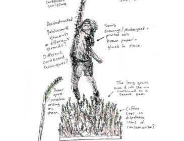 A pen and ink drawing of a young boy reaching for the sky. He is mid-air, reaching for some stars. Writing on the drawing outlines possible materials for each part of the resulting work