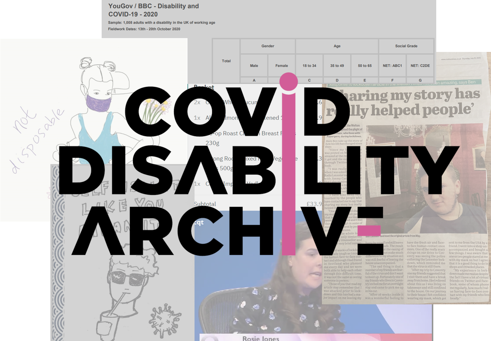 Digital composite image made up of multiple browser windows with the words Covid Disability Archive overlaid on top