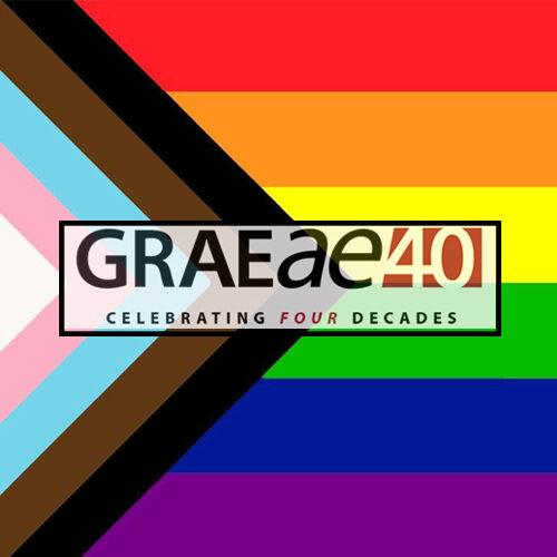 Graeae's 40th anniversary logo (reading 'Graeae 40, celebrating 4 decades') against the inclusive rainbow pride flag