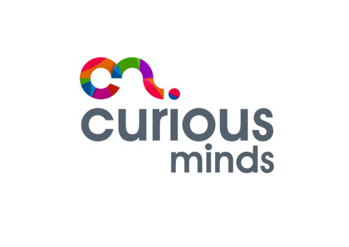 Curious Minds in grey text below a multi-coloured C and sideways question mark.