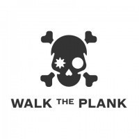 Walk the Plank's logo: grey skull and crossbones on a white background. Text in grey reads: Walk the Plank