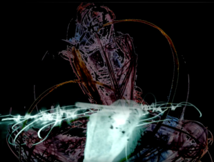 digital image of a hand drawing a signature against a background of a figure