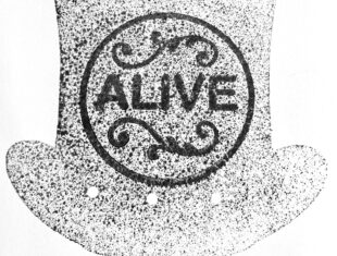 A print of a mottled top hat carries a circle on the front with ALIVE printed upon it.
