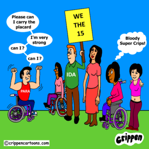 cartoon about disabled people's involvement in the Wethe15 campaign