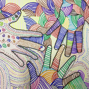 an illustration showing several hands with aboriginal markings upon them.