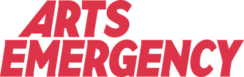 Arts Emergency in red bold text on a white background