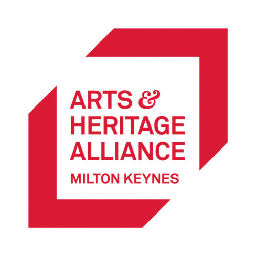 Arts & Heritage Alliance Milton Keynes in red text on white back ground within a red outline of a square.