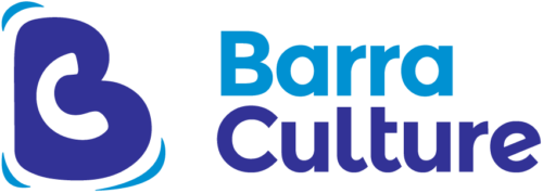 The Barra Culture logo: a blue letter B with a white C in the middle of it. The words 'Barra Culture' are next to it (former in bright blue, latter beneath and in darker blue).