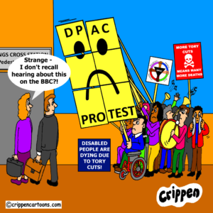 a cartoon depicting the DPAC universal credit protest