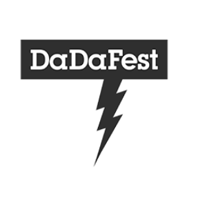 The DaDaFest logo, which is a lightening bolt-shaped speech bubble containing the word DaDaFest