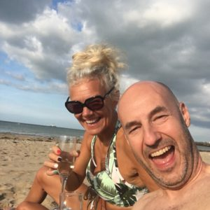 Liz and Rup on the beach
