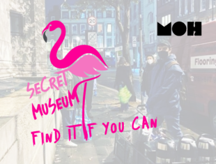 Illustration of a pink flamingo, with the words 'Secret Museum, Find it if you can' in pink capital writing.