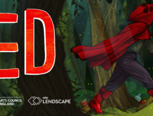 Illustration of a red cloaked figure walking through the forest