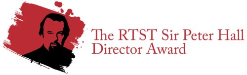 A red paint stroke with a black outline of a headshot of a man. To the right, red text reads: The RTST Sir Peter Hall Director Award.