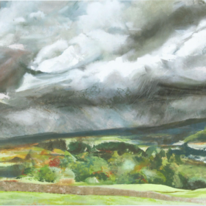 a painting of rolling hills with heavy clouds overhead