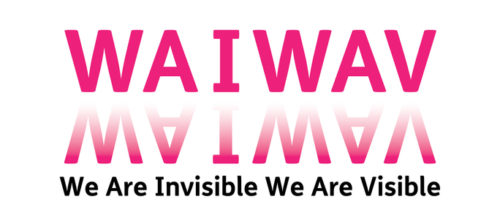 WAIWAV in magenta pink capital letters against a white background. Below is a mirror image of WAIWAV. The letters are upside down and faded. Underneath is the project title: We Are Invisible We Are Visible in small, bold black typeface.