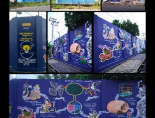 a collage of images from the mural project depicting artists and musicians